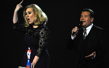 Adele Wins 2012 Brit Awards Best Female and Album of the Year: Flips Off 'The Suits'