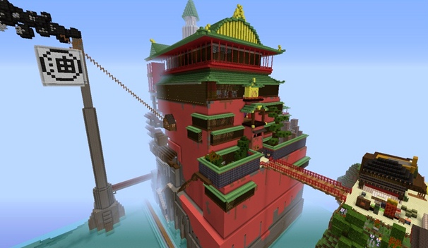Studio Ghibli's Spirited Away in Minecraft: The World is Huge and Beautiful! (Video)
