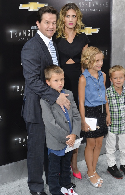 Mark Wahlberg, Rhea and family Transformers premiere