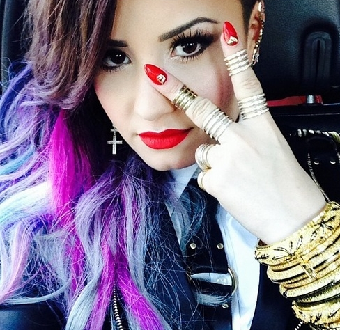demi lovato cute new hair color and style purple gray blue