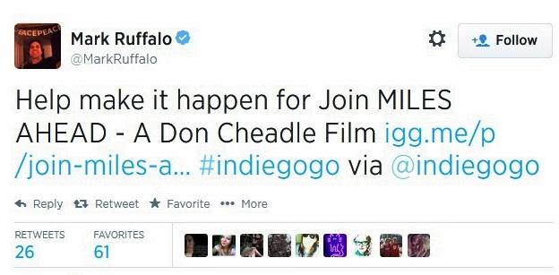 don cheadle miles ahead miles davis mark ruffalo tweet indiegogo