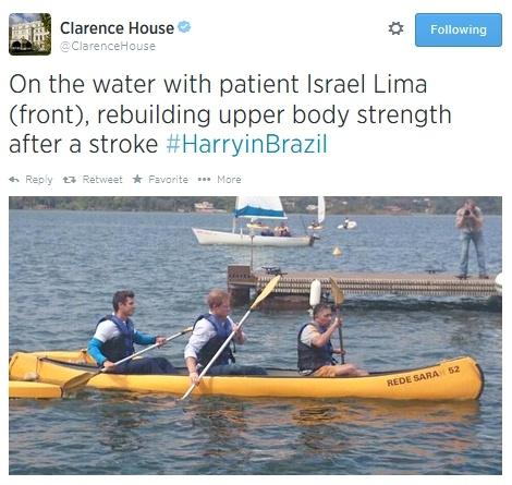 prince harry in canoe at brazil rehab hospital