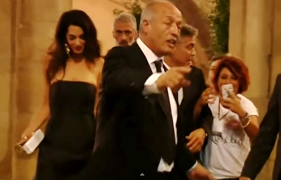 george clooney in italy with fiancee