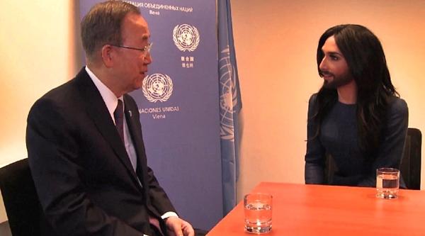 conchita wurst at united nations vienna ban ki-moon