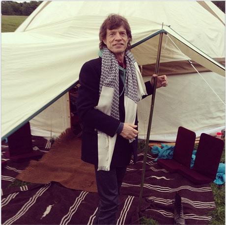 Mick Jagger shows off his yurt.