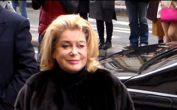 catherine deneuve jean paul gauliter fashion show paris fashion week 2015