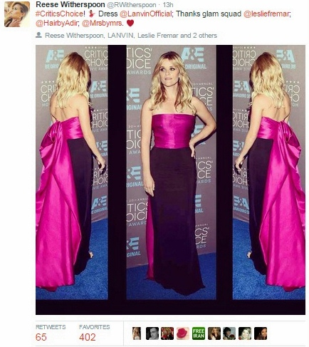 reese witherspoon critics choice awards lanvin dress