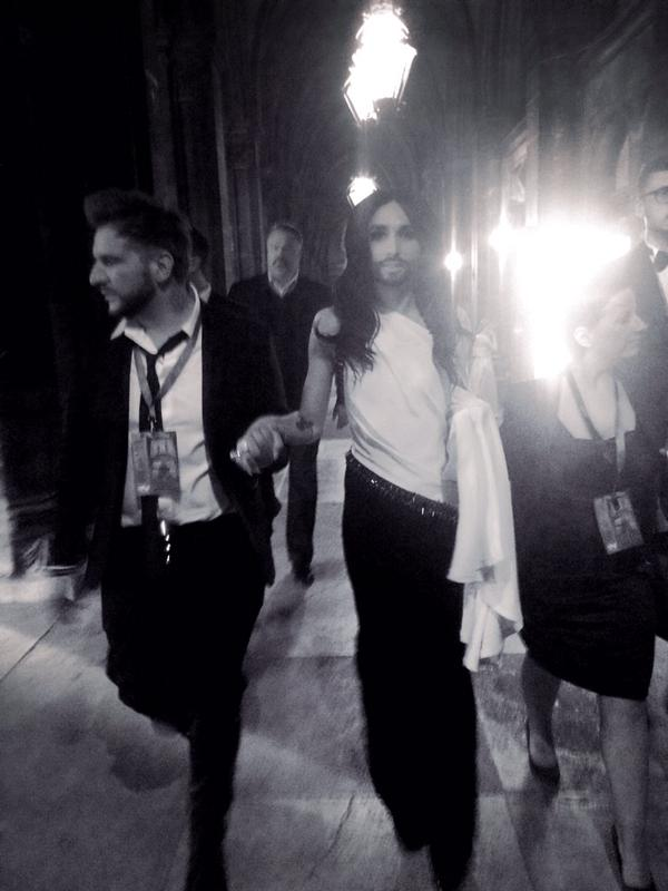 Conchita at LifeBall on her way to stage for new song from Conchita album May 17, 2015