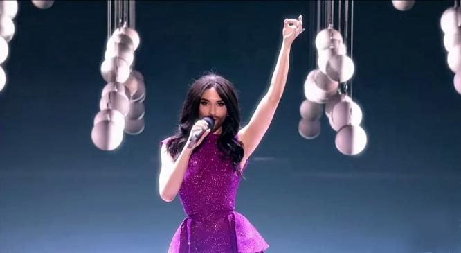 conchita wurst opening of Eurovision 2015 final flying