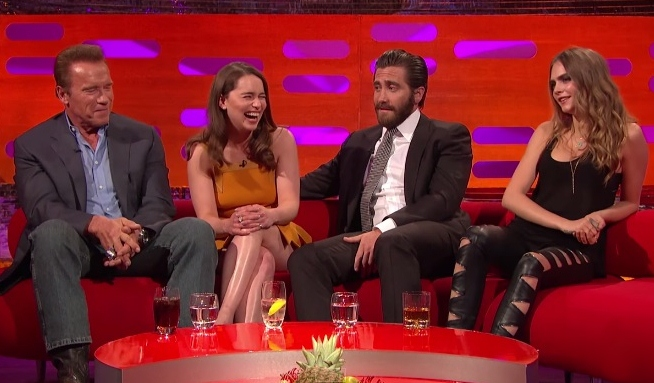 cara delevingne and emilia clarke have an eyebrow off on graham norton
