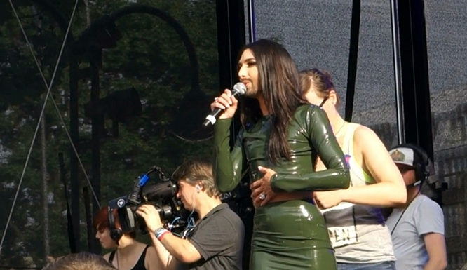 conchita wurst on stage at cologne pride