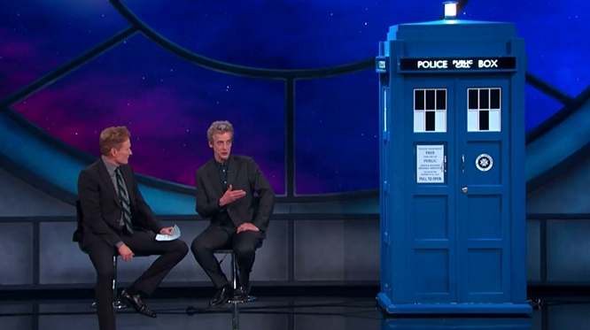 Doctor Who Peter Capaldi Arrives on 'Conan' in Tardis and Gets Standing Ovation (Video)