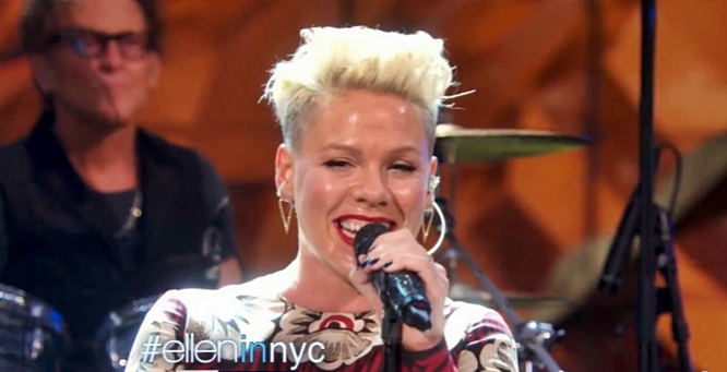 pink try live on the ellen show