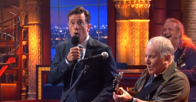 stephen colbert paul simon troubled waters late show
