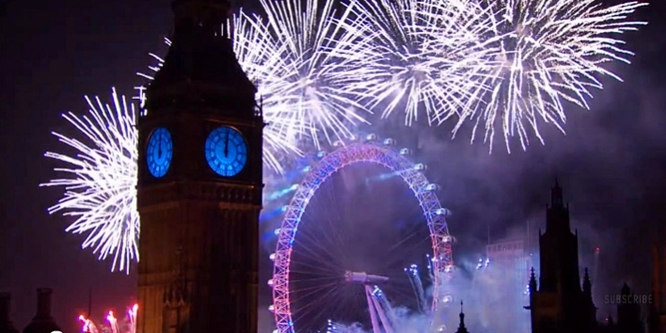 Watch The London New Year Fireworks 2016 -- Spectacular Music and Pyrotechnics