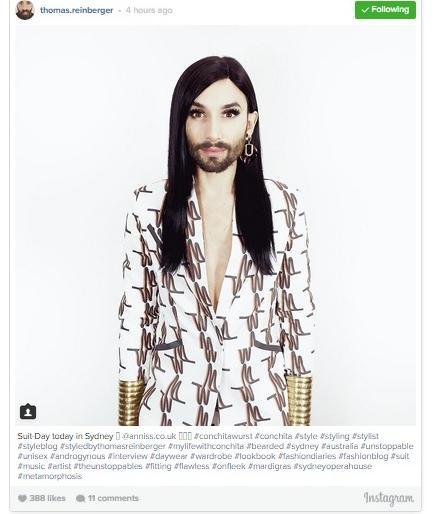 Conchita Wurst is Stylish, Cool and Elegant at Start of Latest Sydney, Australia Visit