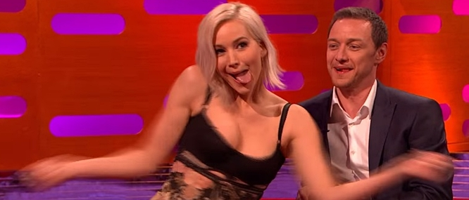 Jennifer Lawrence dancing at the Star Wars table