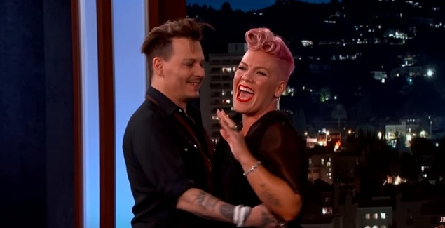 pink meets johnny depp on jimmy fallon