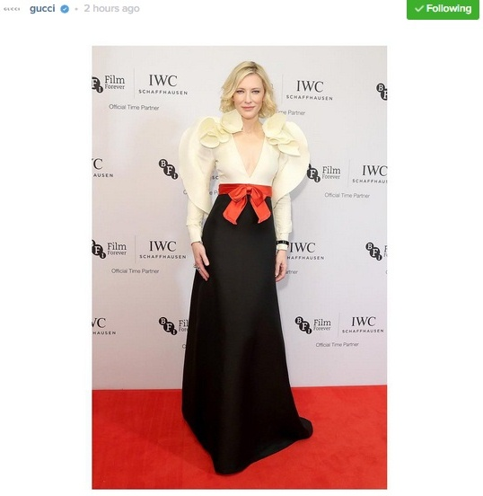 Cate Blanchett Stunning in Gucci Silk Gown at IWC Gala Dinner — Instagram Photo of the Day