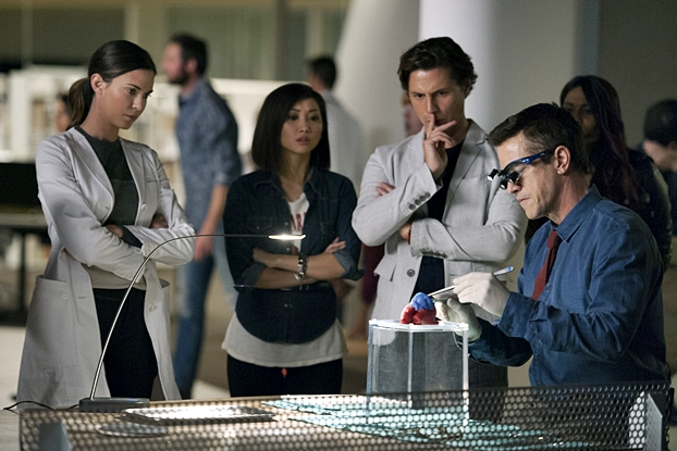 "PURE GENIUS -- ""Pilot"" -- Pictured: (l-r) Odette Annale as Dr. Zoe Brockett, Brenda Song as Angie Cheng, Augustus Prew as James Bell, Dermot Mulroney as Dr. Walter Wallace -- (Photo by: Colleen Hayes/CBS/Universal Television)"