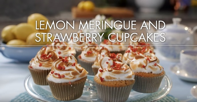 How To Make Mary Berry's Lemon Meringue and Strawberry Cupcakes -- Yum! (Video)