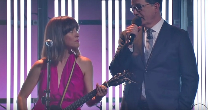 Stephen Colbert replaces Jarvis Cocker on Feist's 'Century' and he's cool (video)