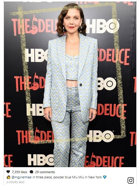 Maggie Gyllenhaal wears gorgeous powder blue MiuMiu suit at party celebrating 'The Deuce' premiere