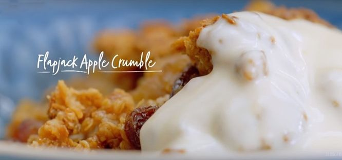 How to make Nadiya's Flapjack Apple Crumble, so sweet and delicious