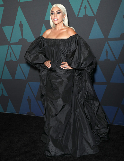 Lady Gaga looks gorgeous in black Valentino gown at Governors Awards