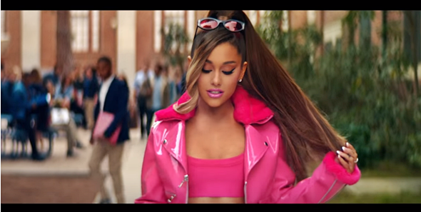 Ariana Grande in 'thank u, next' video as Elle Woods in Legally Blonde