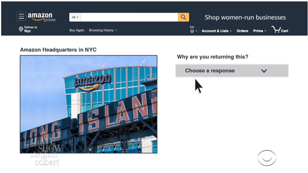 Hilarious Stephen Colbert video 'NYC returns its Amazon purchase' is comedy gold