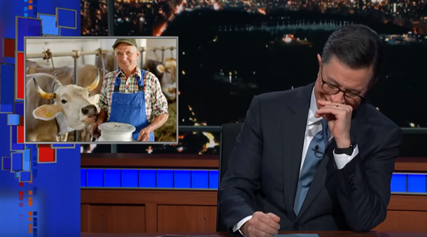 Stephen Colbert's reaction to 'nut juice' suggestion by the dairy industry is hilarious